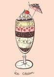 Ριγωτό παγωτό με τη σοκολάτα στοκ εικόνα