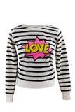 Ριγωτό πουλόβερ με το σημάδι αγάπης ` ` στοκ φωτογραφία με δικαίωμα ελεύθερης χρήσης