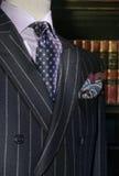 Ριγωτό σακάκι με το πορφυρό πουκάμισο, δεσμός (κάθετος) Στοκ φωτογραφία με δικαίωμα ελεύθερης χρήσης