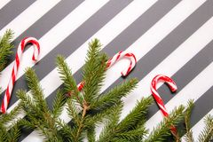 Ριγωτό υπόβαθρο Χριστουγέννων με τα κλαδάκια και τις καραμέλες στοκ εικόνα