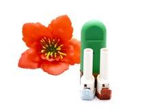 Ρινικός ψεκασμός με Inhaler άσθματος Στοκ φωτογραφία με δικαίωμα ελεύθερης χρήσης