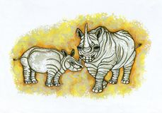 ρινόκεροι ρυτιδωμένοι απεικόνιση αποθεμάτων