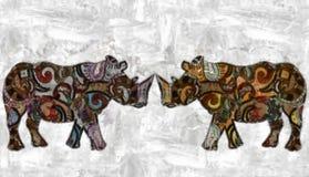 Ρινόκεροι Watercolor Στοκ φωτογραφία με δικαίωμα ελεύθερης χρήσης