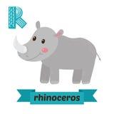 Ρινόκερος Επιστολή Ρ Χαριτωμένο ζωικό αλφάβητο παιδιών στο διάνυσμα φ διανυσματική απεικόνιση