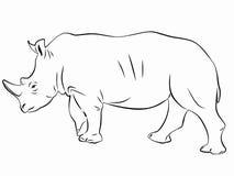 Ρινόκερος σκιαγραφιών, διάνυσμα σκίτσων Στοκ Εικόνες