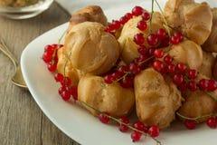 Ριπές κρέμας και κόκκινη σταφίδα στο άσπρο πιάτο Στοκ Εικόνα
