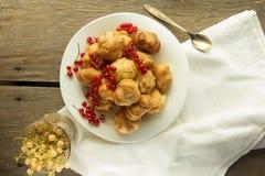 Ριπές κρέμας και κόκκινη σταφίδα στο άσπρο πιάτο Στοκ εικόνα με δικαίωμα ελεύθερης χρήσης