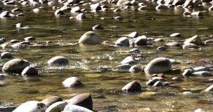 Ροές νερού ποταμού αργά με τους βράχους και τα κύματα