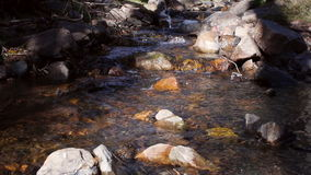 Ροή νερού ποταμού μεταξύ των βράχων και των πετρών στην ώθηση ολισθαινόντων ρυθμιστών βουνών απόθεμα βίντεο