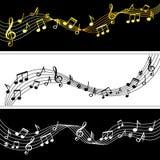 Ροή σημειώσεων μουσικής Τα σχέδια φύλλων σχεδίων σημειώσεων μουσικής Doodle, διανυσματικά μουσικά σύμβολα σκιαγραφούν το σύγχρονο ελεύθερη απεικόνιση δικαιώματος