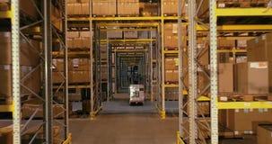 Ροή της δουλειάς σε μια αποθήκη εμπορευμάτων, ενεργός εργασία σε μια αποθήκη εμπορευμάτων, forklifts σε μια αποθήκη εμπορευμάτων φιλμ μικρού μήκους