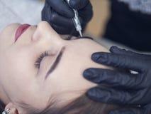 Ροή της δουλειάς φρυδιών Microblading σε ένα σαλόνι ομορφιάς Ανοικτό καφέ girl do eyebrows βελόνα στοκ φωτογραφία με δικαίωμα ελεύθερης χρήσης