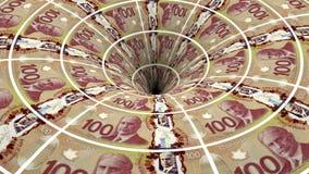 Ροή τραπεζογραμματίων καναδικών δολαρίων στην τρύπα φιλμ μικρού μήκους