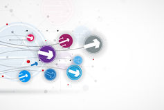 Ροή των βελών Φαντασία της επιχείρησης ή της διαδικασίας τεχνολογίας διανυσματική απεικόνιση