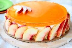 ροδάκινο κέικ στοκ φωτογραφία
