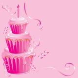 ροζ γενεθλίων cupcake Στοκ φωτογραφίες με δικαίωμα ελεύθερης χρήσης