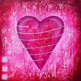 ροζ ζωγραφικής καρδιών διανυσματική απεικόνιση