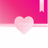 Ροζ διάνυσμα ευχετήριων καρτών καρδιών Στοκ Εικόνα