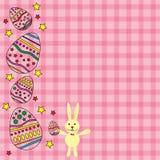 Ροζ κάρτα για Πάσχα με το διάνυσμα αυγών και κουνελιών Στοκ εικόνες με δικαίωμα ελεύθερης χρήσης
