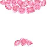 Ροζ κάρτα διαμαντιών Watercolor Στοκ εικόνες με δικαίωμα ελεύθερης χρήσης