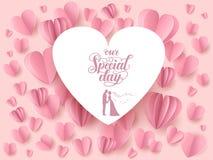Ροζ κάρτα καρδιών Στοκ Εικόνες