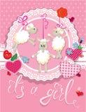 Ροζ κάρτα ντους μωρών με τα πρόβατα και τις καρδιές Στοκ Εικόνες
