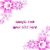 Ροζ κάρτα λουλουδιών Στοκ εικόνα με δικαίωμα ελεύθερης χρήσης