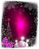 Ροζ κάρτα Χριστουγέννων με μια σκιαγραφία ενός λάμποντας χριστουγεννιάτικου δέντρου απεικόνιση αποθεμάτων