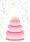 ροζ κέικ γενεθλίων Στοκ Φωτογραφία