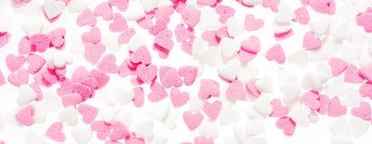 Ροζ και λευκό μορφής καρδιών Στοκ Εικόνα