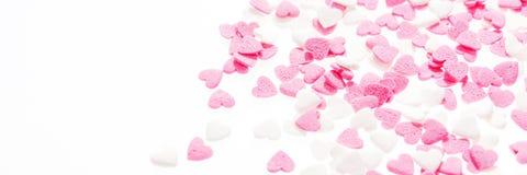Ροζ και λευκό μορφής καρδιών Στοκ Εικόνες