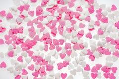 Ροζ και λευκό μορφής καρδιών Στοκ Φωτογραφία