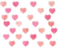 Ροζ και μπεζ καρδιών Watercolor διανυσματική απεικόνιση