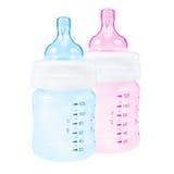Ροζ και μπλε μπουκαλιών μωρών Στοκ εικόνα με δικαίωμα ελεύθερης χρήσης