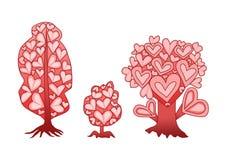 Ροζ καρδιών δέντρων σχεδίου στο άσπρο υπόβαθρο ελεύθερη απεικόνιση δικαιώματος