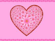 ροζ καρδιών λουλουδιών Στοκ εικόνα με δικαίωμα ελεύθερης χρήσης