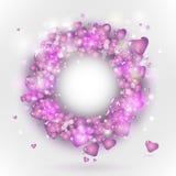 ροζ καρδιών πλαισίων κύκλ&om Στοκ Φωτογραφία