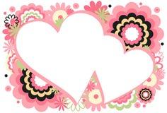 ροζ καρδιών πλαισίων Στοκ Φωτογραφίες