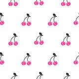Ροζ κερασιών στο άσπρο άνευ ραφής διανυσματικό σχέδιο Στοκ φωτογραφία με δικαίωμα ελεύθερης χρήσης