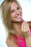 ροζ κραγιόν κοριτσιών Στοκ εικόνες με δικαίωμα ελεύθερης χρήσης
