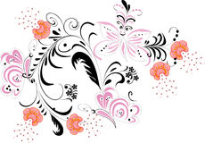 ροζ λουλουδιών πεταλούδων Στοκ Εικόνα