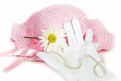 ροζ μαργαριταριών καπέλων Στοκ Εικόνα