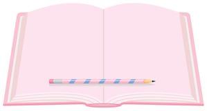 ροζ μολυβιών ημερολογί&ome Στοκ εικόνες με δικαίωμα ελεύθερης χρήσης