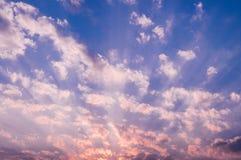 Ροζ ουρανός βραδιού, ουρανός βανίλιας με τα διεσπαρμένα σύννεφα Στοκ Εικόνα