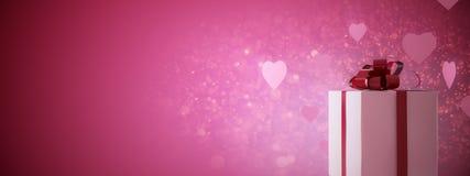 Ροζ παρόν με τις καρδιές Στοκ εικόνα με δικαίωμα ελεύθερης χρήσης