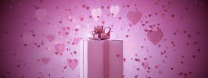 Ροζ παρόν με τις καρδιές Στοκ Εικόνα