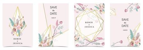 Ροζ πράσινη, χρυσή κάρτα γαμήλιας πρόσκλησης γεωμετρίας με ροδαλό, φύλλο ελεύθερη απεικόνιση δικαιώματος