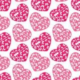 ροζ προτύπων καρδιών άνευ ρ&a Στοκ Εικόνα