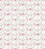 ροζ προτύπων καρδιών άνευ ρ&a Στοκ Φωτογραφίες