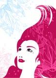 ροζ τριχώματος κοριτσιών &o Στοκ Εικόνες